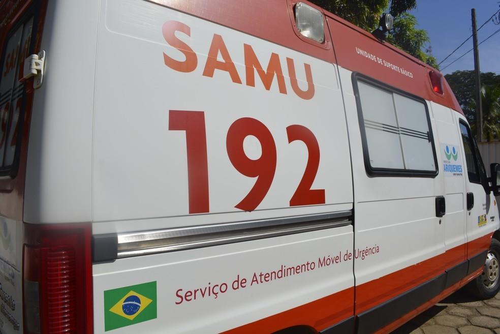 -  Vítima foi atendida pelo Samu de Ariquemes, RO  Foto: Franciele do Vale/G1