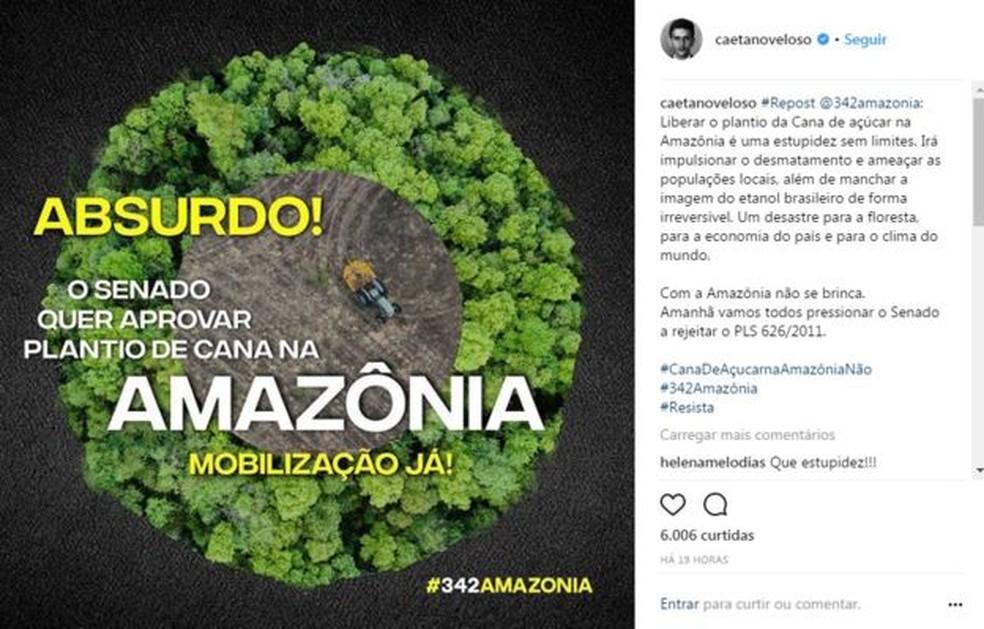 Artistas e ambientalistas se mobilizaram nas redes sociais contra projeto de Flexa Ribeiro (Foto: Reprodução/Instagram)
