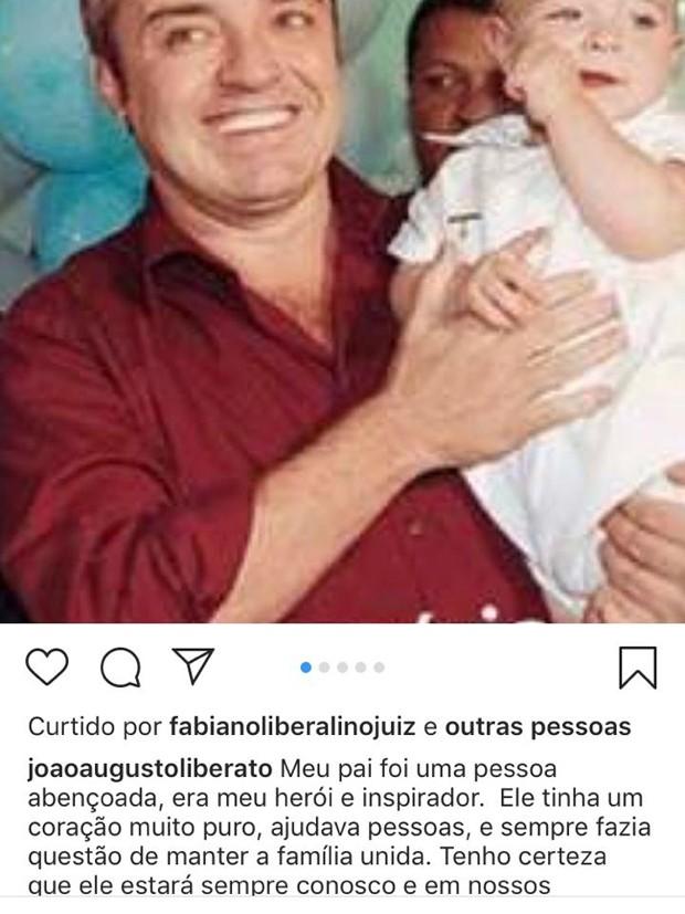 João Augusto Liberato se despede do pai (Foto: Reprodução Instagram)