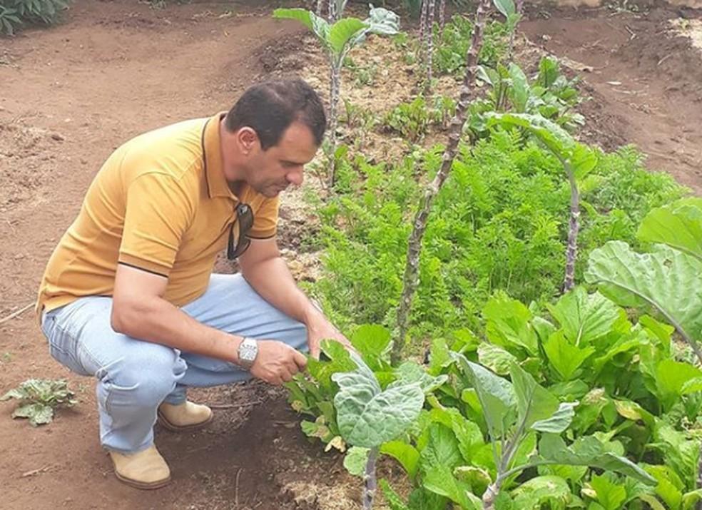 Luciano Caixeta durante atendimento a horta em Tupaciguara — Foto: Reprodução/Instagram