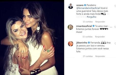 Mirella Santos e Ceará elogiaram a coragem da amiga de longa data. Boninho também deixou relato Reprodução/Instagram
