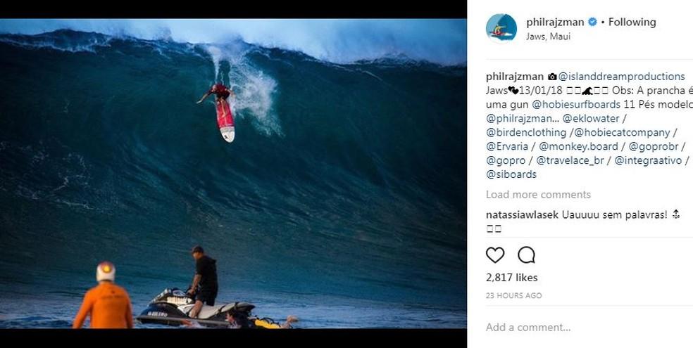 Bicampeão mundial de longboard, o brasileiro Phil Rajzman também se destacou nas ondas de Jaws (Foto: Reprodução/Instagram)