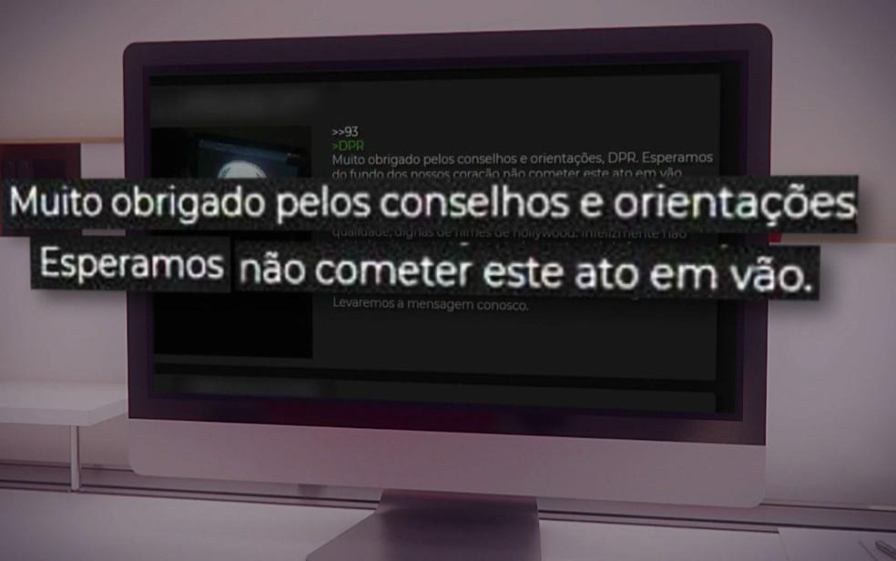 Mensagem em fórum na Deep Web  — Foto: TV Globo/Reprodução