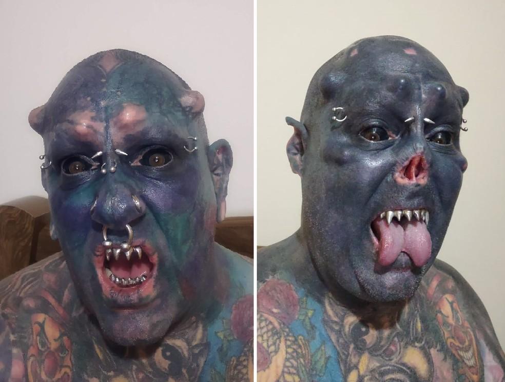 Tatuador com 99% do corpo desenhado corta o nariz em Tatuí — Foto: Fernando Franco/Arquivo pessoal