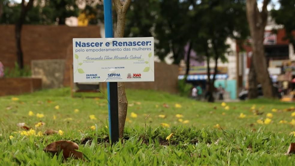 Praça das Mulheres homenageia vítimas da violência contra a mulher, em João Pessoa (Foto: Joserly Luís/Secom-JP)