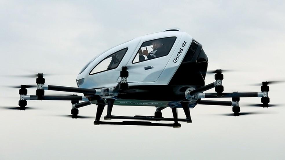 Ehang 184, drone que consegue carregar passageiros, registra testes de voo bem-sucedidos (Foto: Divulgação/Ehang)