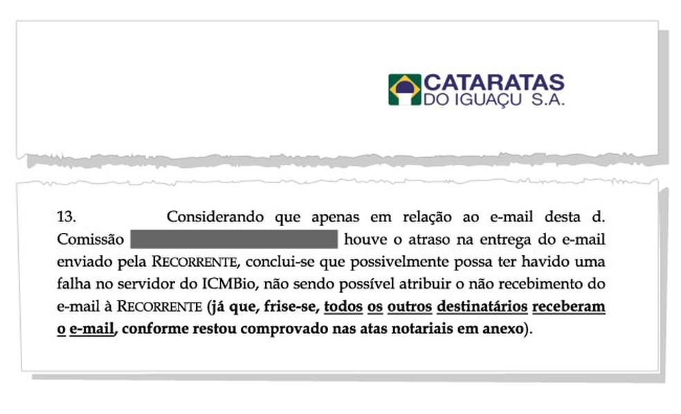 Em recurso, grupo Cataratas sugere que houve falha no servidor do ICMBio — Foto: Reprodução/Arquivo