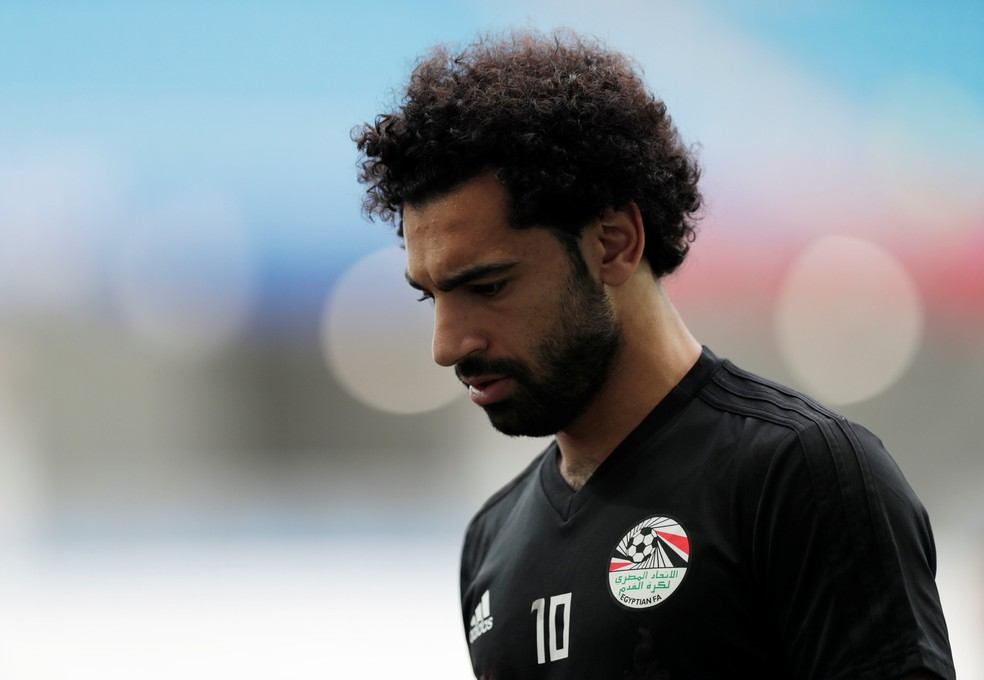 Mohamed Salah durante treino com a equipe do Egito (Foto: REUTERS/Ueslei Marcelino)