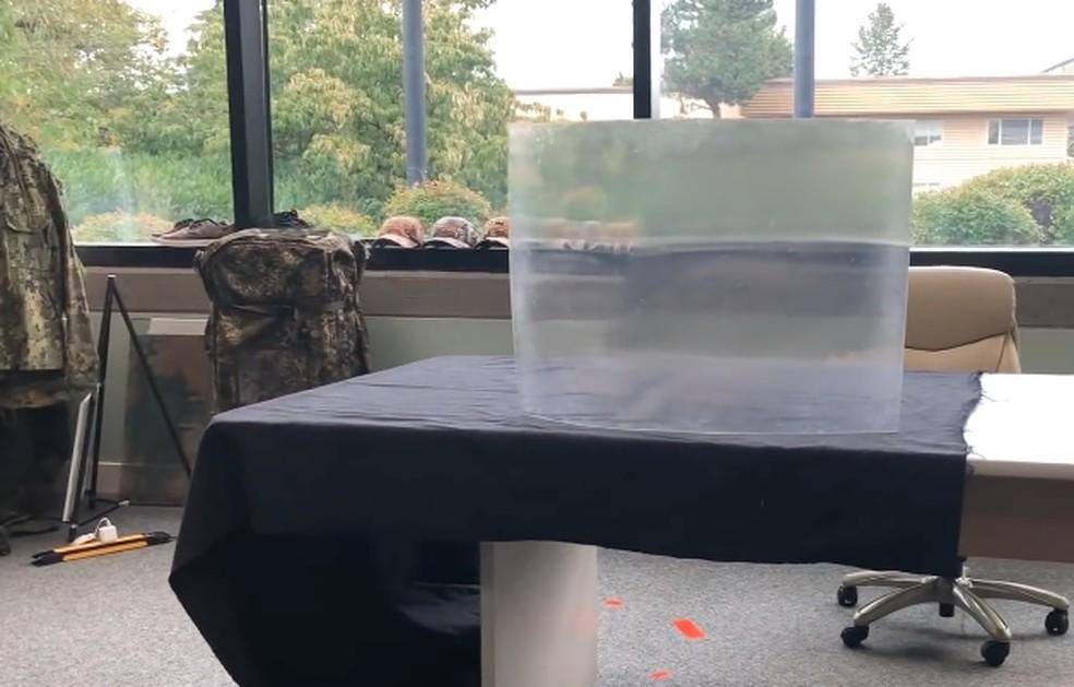 Material sobre mesa esconde objeto — Foto: Reprodução/HyperStealth