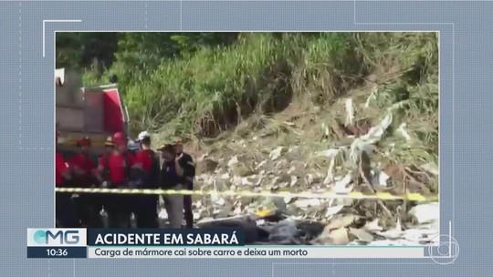 Carga tomba sobre carro e deixa um morto na BR-381, em Sabará