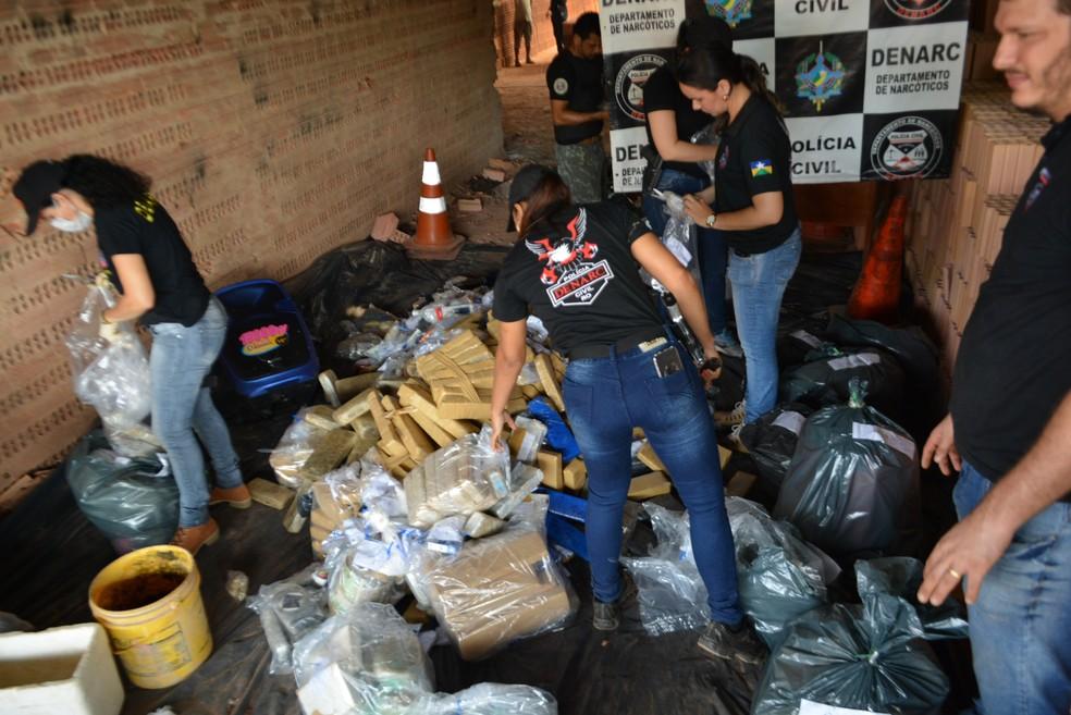 Depois da droga ser apreendida pela passa pela prova, depois contra prova até ser autorizada a incineração, segundo Diretor do Denarc (Foto: Hosana Morais/G1)