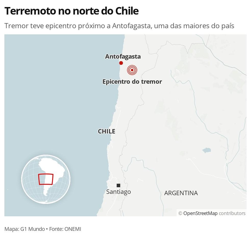 Terremoto no norte do Chile - MAPA — Foto: G1 Mundo