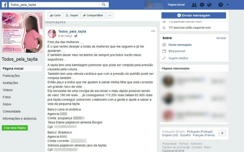 Postagem pede doações para cirurgia de Taylla Cristina Silva, de 9 anos (Foto: Reprodução/Facebook)