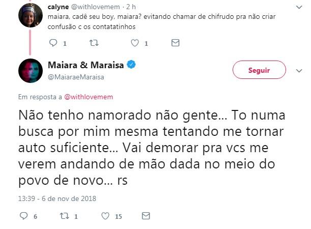 Maiara avisa porque não tem namorado (Foto: Twitter/Reprodução)