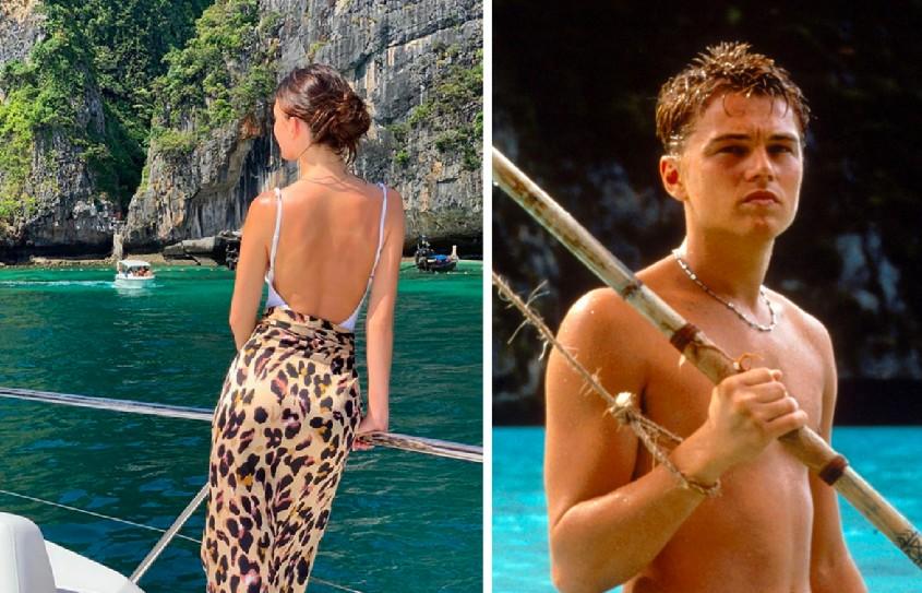 A modelo argentina Camila Morrone, namorada de Leonardo DiCaprio, na mesma praia na qual o astro filmou o drama A Praia (2000) (Foto: Instagram/Reprodução)