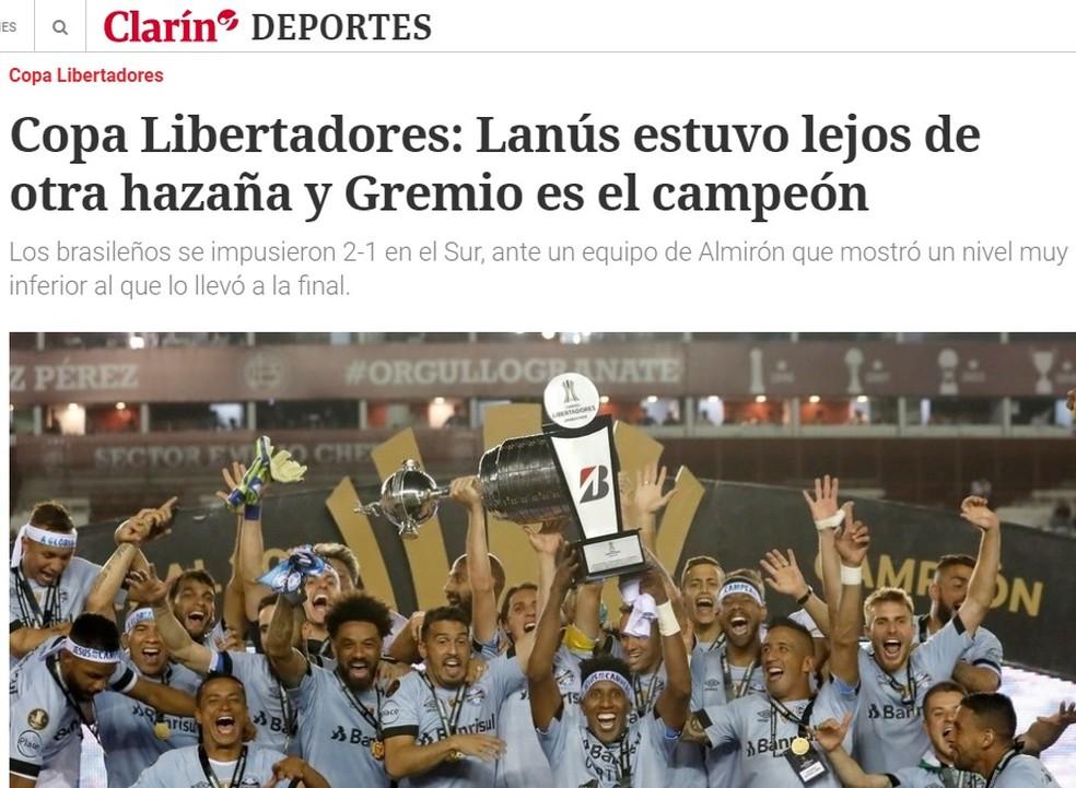 Clarín, da Argentina (Foto: Reprodução)