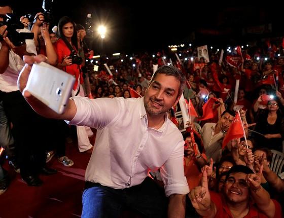 O candidato a presidente do Paraguai Mario Abdo Benítez, do Partido Colorado, é o favorito para o pleito deste 22 de abril (Foto: JORGE ADORNO/REUTERS)