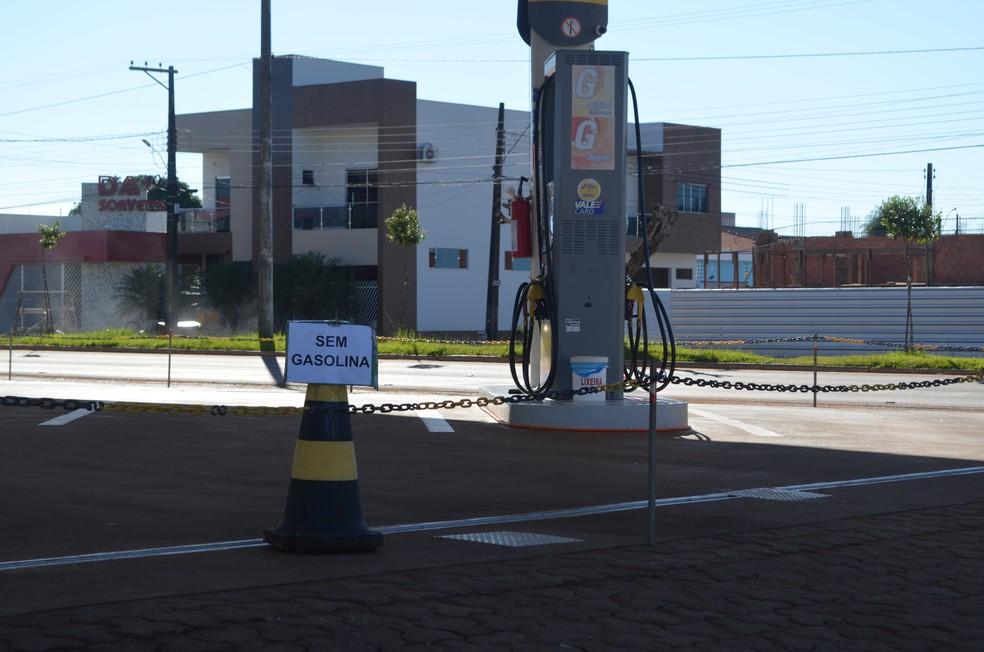 Postos estão sem combustível em Vilhena (Foto: Eliete Marques/ G1)