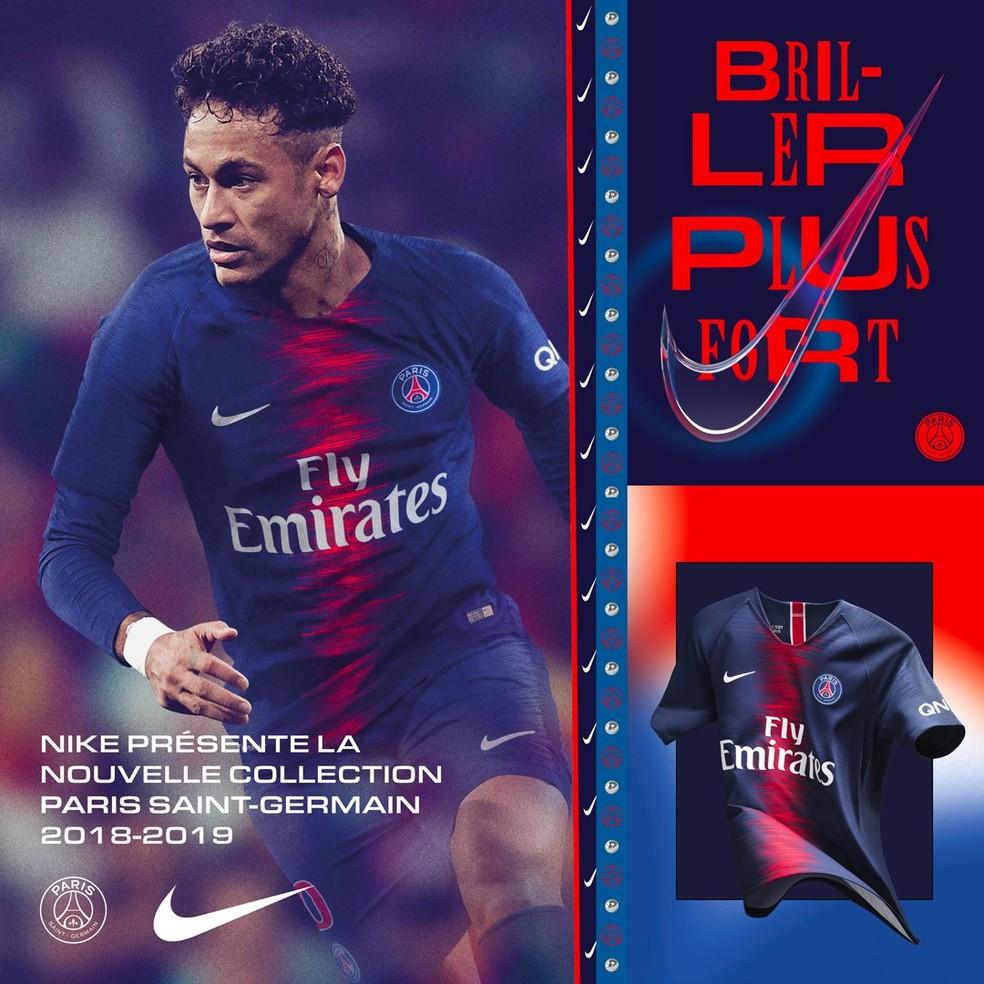 7f96d881d Neymar apresenta novo uniforme do PSG  Roma e Chelsea também lançam ...