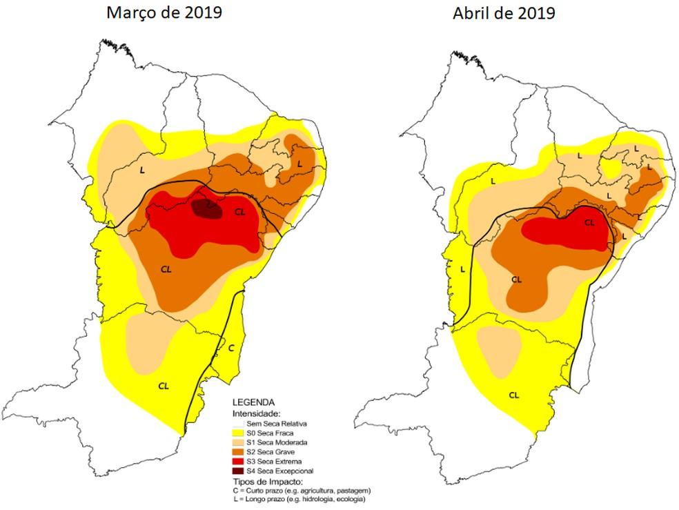 O volume de chuvas na região e outras partes do Estado contribuíram para a diminuição da seca fraca (de cor amarela) e da seca moderada (de cor bege).  — Foto: Monitor de Secas Nordeste