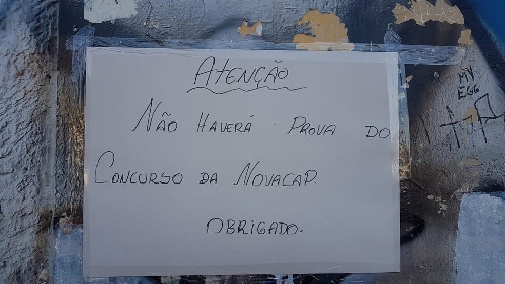 Aviso da suspensão da prova da Novacap neste domingo (16), em Brasília — Foto: Arquivo pessoal