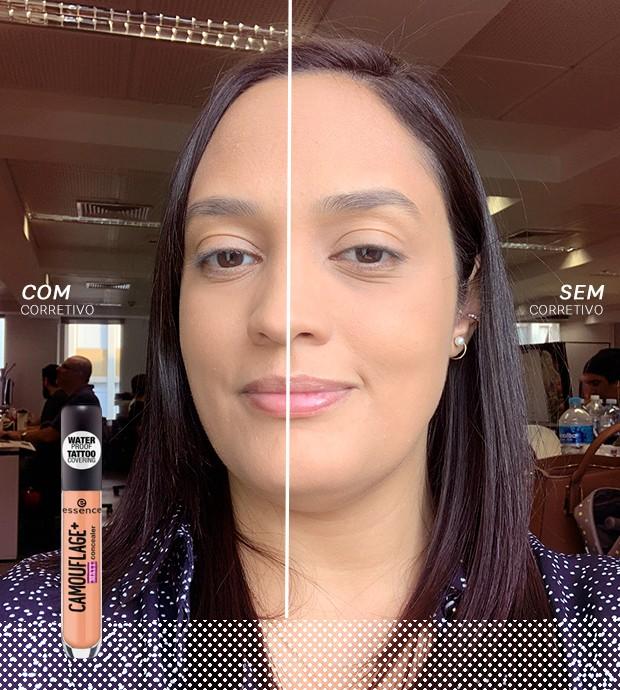 Ana Moura testa o corretivo Camouflage da Essence (Foto: Reprodução)