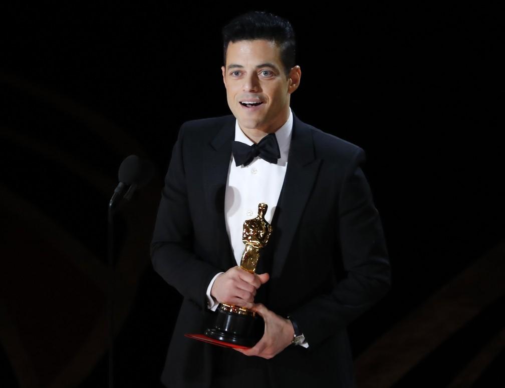 Rami Malek discursa após receber o Oscar de melhor ator por 'Bohemian Rhapsody' — Foto: Mike Blake/Reuters