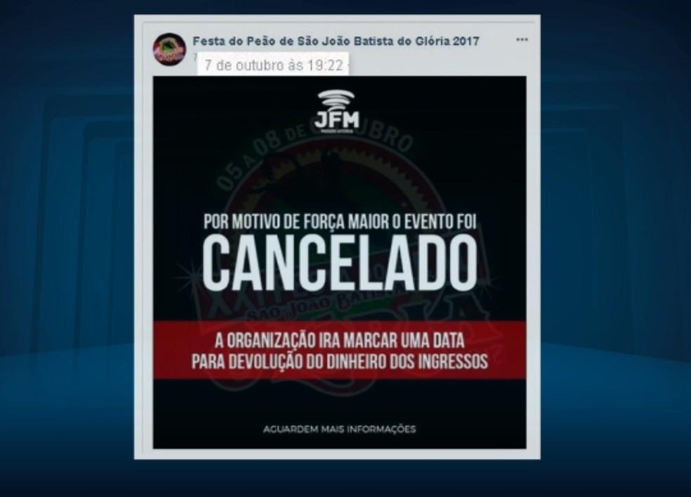 Anúncio de cancelamento da festa foi feito no último sábado pela internet (Foto: Reprodução EPTV)
