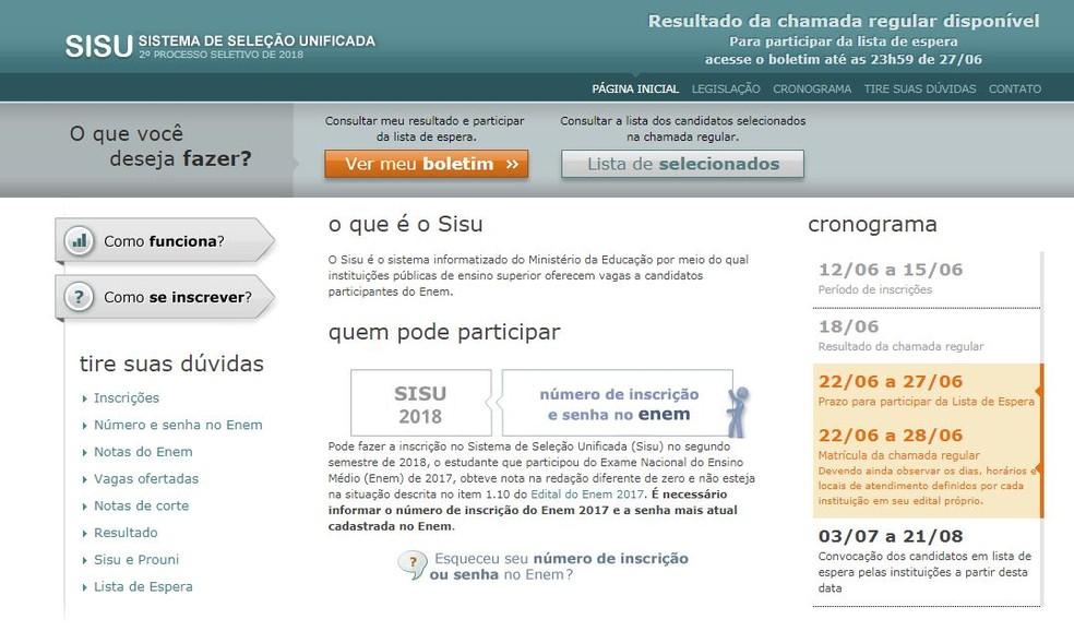 Sisu: aprovados devem se matricular; lista de espera também já está aberta (Foto: Reprodução/ MEC)