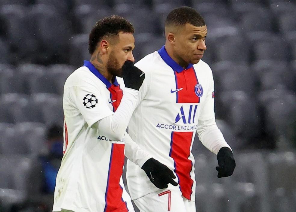 Neymar e Mbappé mostraram mais uma vez a afinação da dupla na Champions League — Foto: Reuters