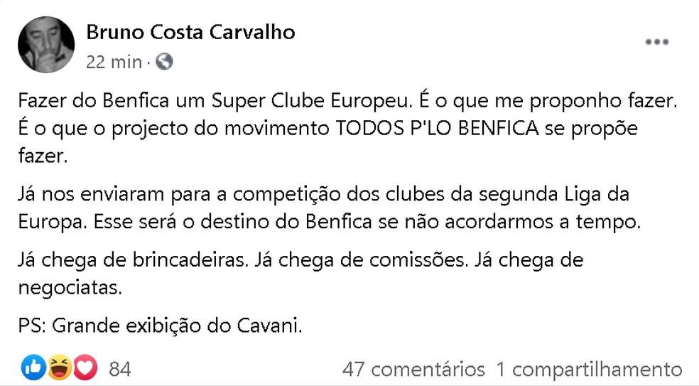 Candidato da oposição no Benfica, Bruno Costa Carvalho, posta ironia após eliminação — Foto: Reprodução/Facebook