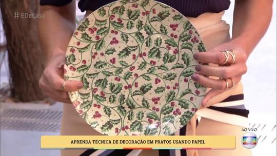 Decoupage natalina: Aprenda a decorar pratos usando guardanapos