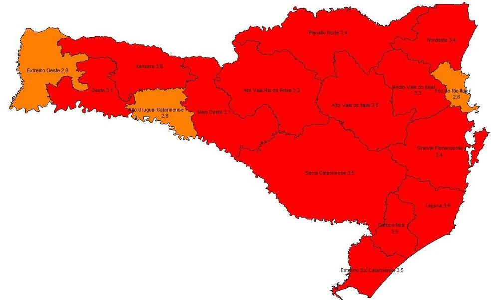 Matriz de risco da Covid-19 em 25 de novembro de 2020 — Foto: Governo de Santa Catarina