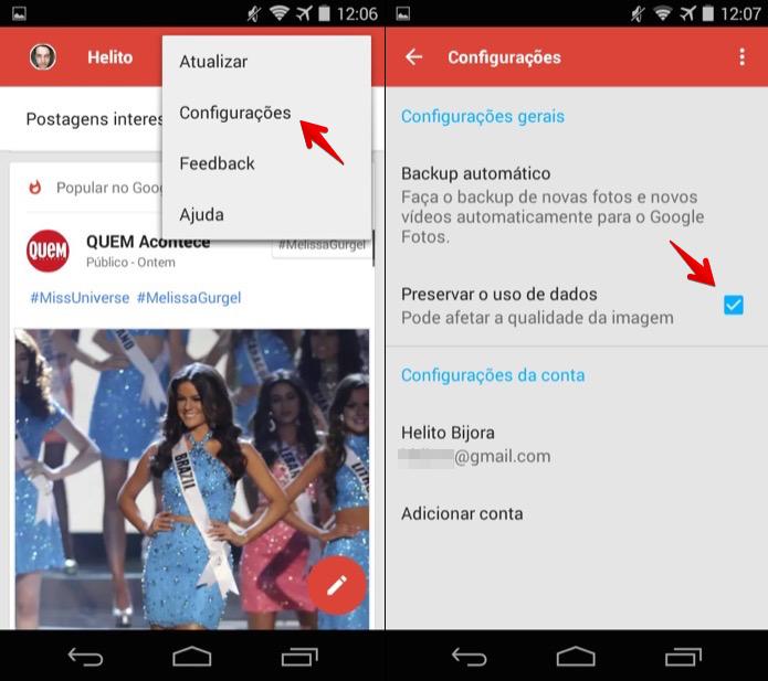 Ativando a compactação de imagens no Google+ (Foto: Reprodução/Helito Bijora)