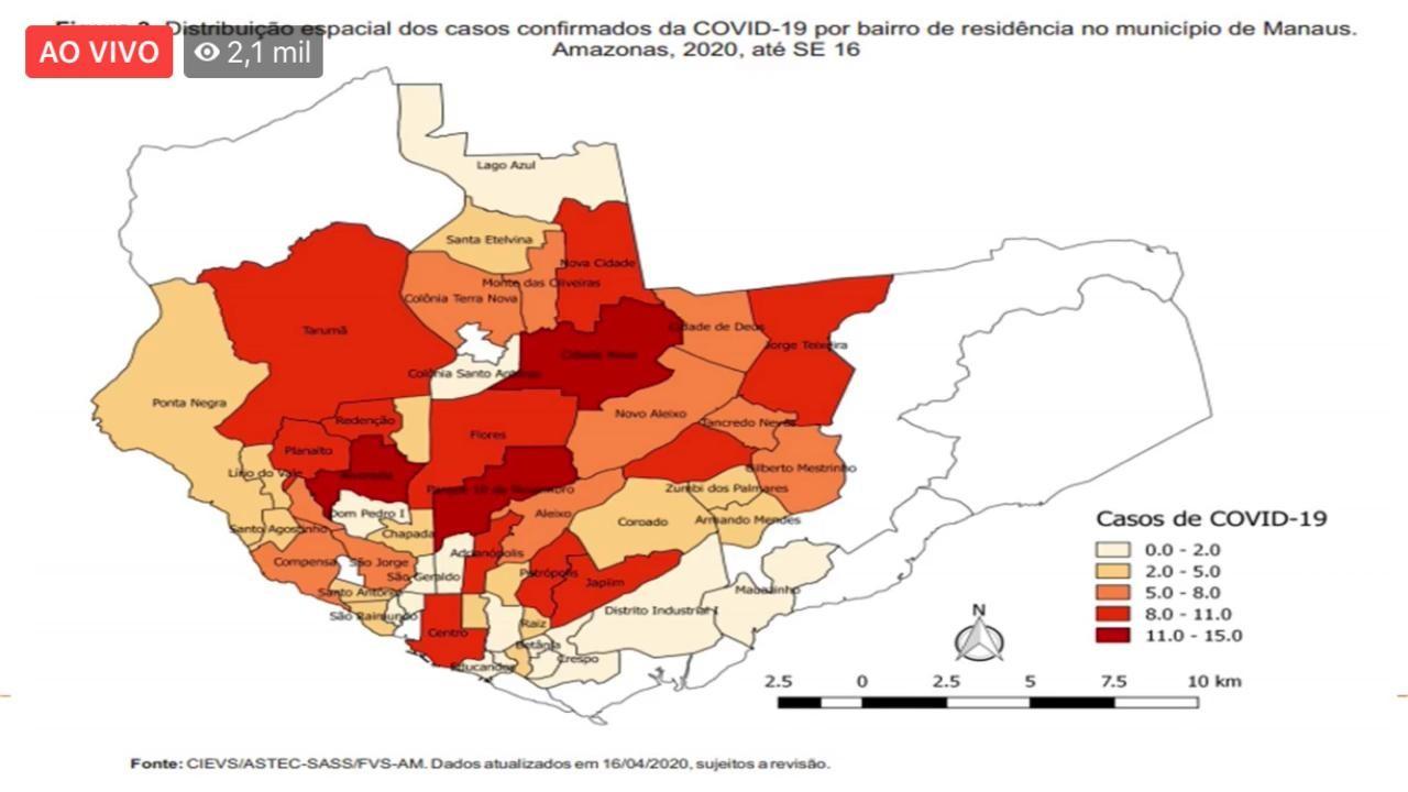 AM tem 165 novos casos fora do período de transmissão da Covid-19; número de recuperados sobe para 386