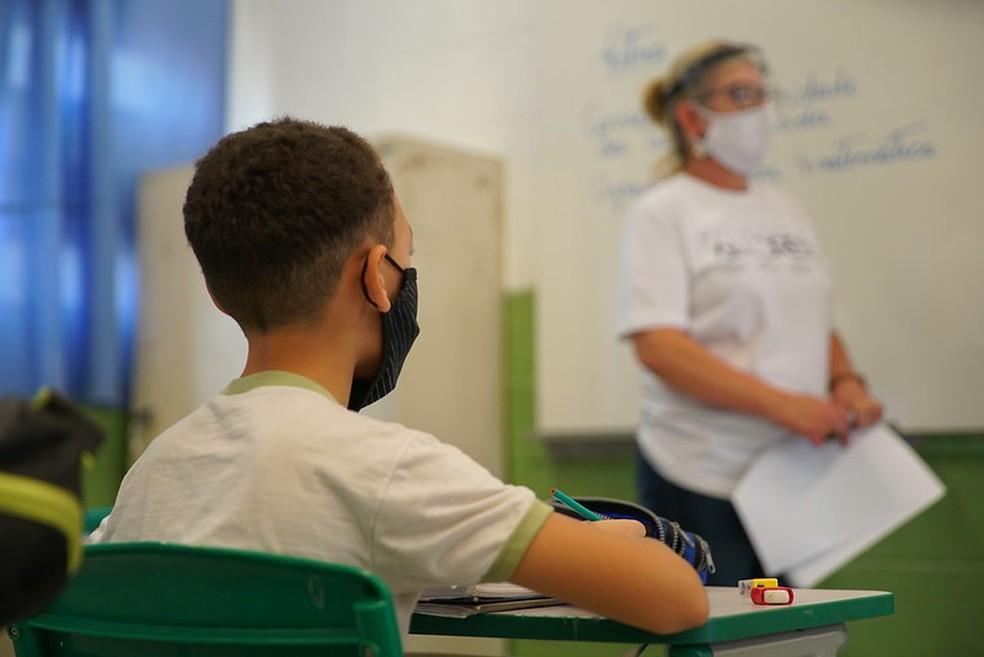 Aluno da rede estadual de ensino em atividade presencial na escola em setembro de 2020. — Foto: Divulgação/Secretaria da Educação