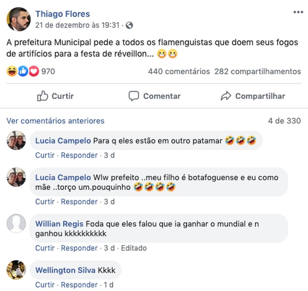 A postagem do prefeito gerou polÃĻmica em sua rede social do facebook. (Foto: Facebook)