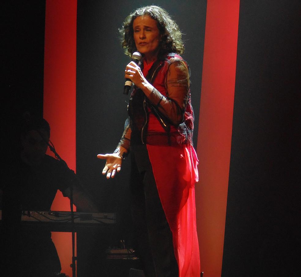 Zélia Duncan prioriza no show 'Tudo é um' o discurso politizado de letras de músicas que compôs nos anos 1990 — Foto: Mauro Ferreira / G1