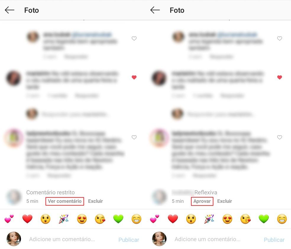 Exemplo de comentário restrito no Instagram — Foto: Reprodução/Ana Letícia Loubak
