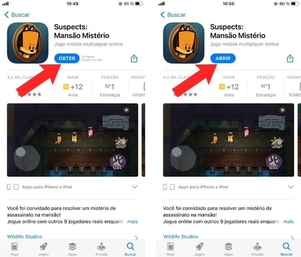"""Na loja de apps do seu celular, clique em """"Obter"""" para fazer o download do game e, na sequência, clique em """"Abrir"""" — Foto: Reprodução/Adânia Souza"""