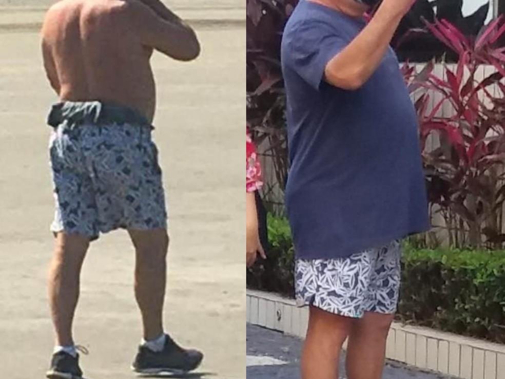 Fotos registradas em dias diferentes mostram semelhança na estampa da bermuda — Foto: G1 Santos