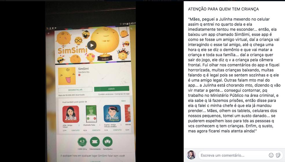 Mensagem alerta mães sobre o SimSimi (Foto: Reprodução/Facebook)