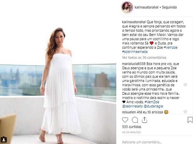 Karina Sato faz post para revelar descanso na maratona pela espera de Zoe (Foto: Reprodução/Instagram)