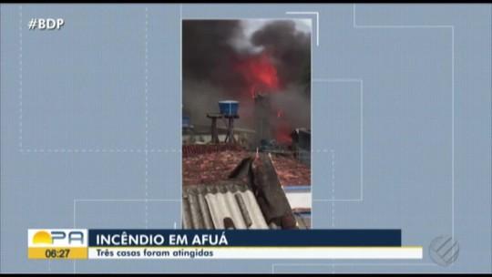 Casas são destruídas por incêndio em Afuá, na ilha do Marajó