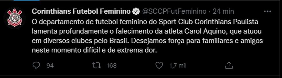 Corinthians lamenta morte da goleira Carol Aquino — Foto: Reprodução/Twitter