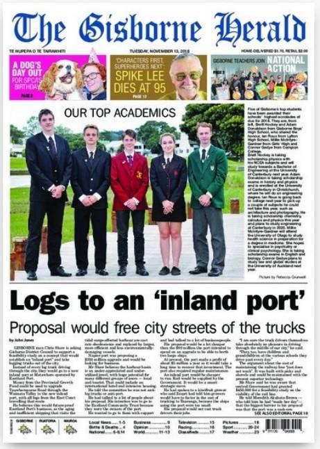 Capa do jornal neozelandês (Foto: divulgação)