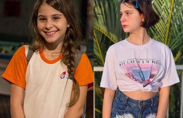 Isabella Koppel, a Dayse de 'Totalmente demais', está com 14 anos e trabalha como atriz, dubladora e cantora. Depois da novela das 19h, ela fez 'Os dias eram assim' e 'Apocalipse', entre outros trabalhos (Foto: TV Globo / Reprodução)