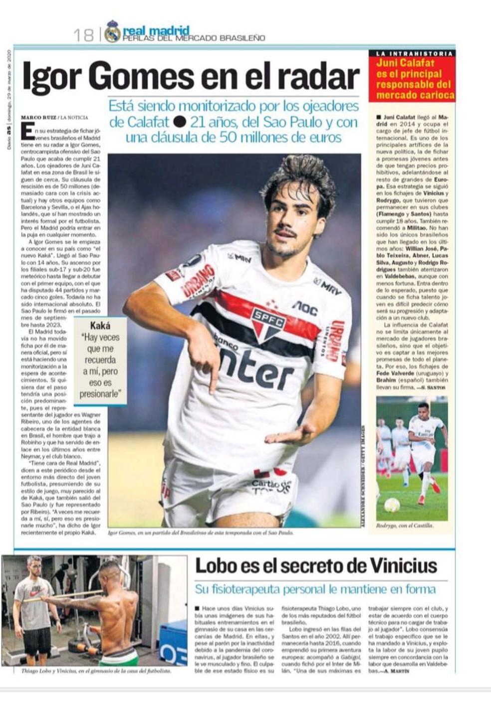 """Igor Gomes, do São Paulo, está no radar do Real Madrid, segundo o jornal """"AS"""", da Espanha — Foto: Reprodução"""