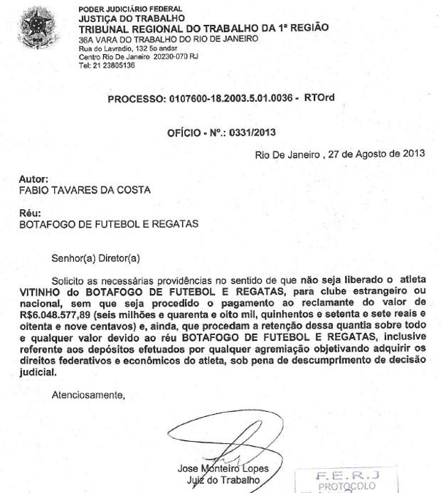 documento Botafogo Vitinho (Foto: Reprodução)