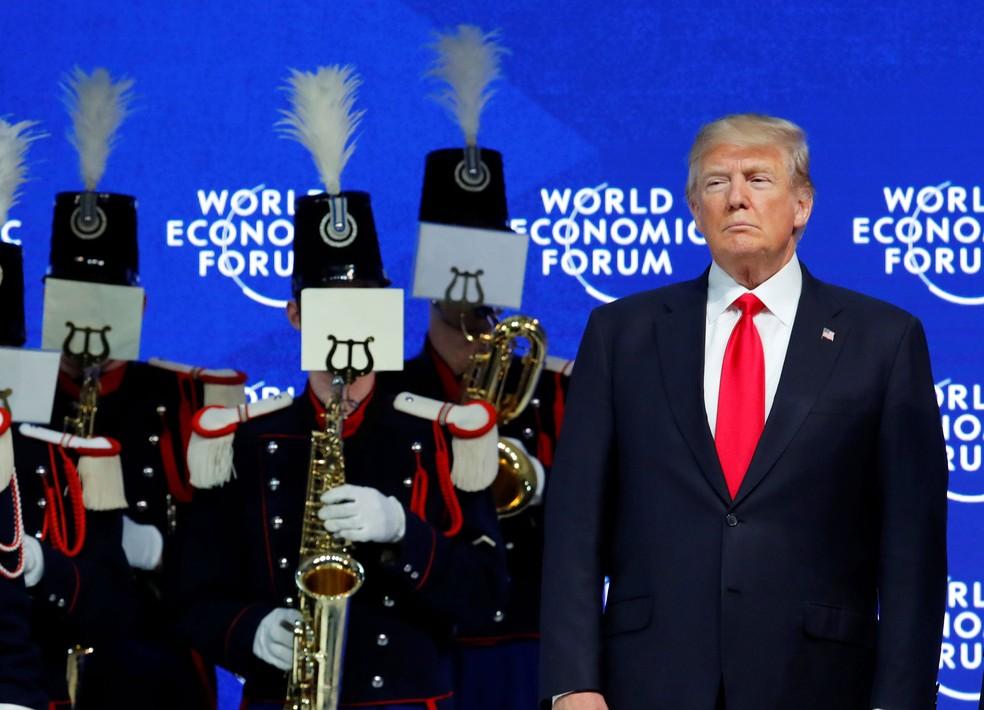 Presidente dos Estados Unidos, Donald Trump, participa do Fórum Econômico Mundial, em Davos, na Suíça, nesta sexta-feira (26) (Foto: Denis Balibouse/ Reuters)
